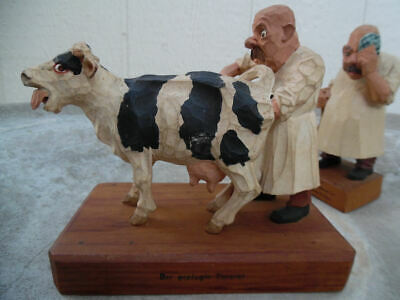 Gg HEISSWOLF CARICATURE VETERINARIANS AND COW CARVED WOOD GERMAN FIGURES 1950's