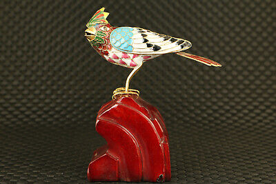 chinese old cloisonne hand painting bird statue figure collectable stand wood