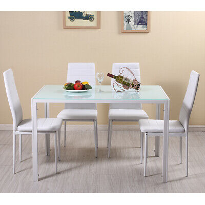Dining Table Set Modern Tempered Glass Top w/ 4 Faux Leather Chairs Dining Room