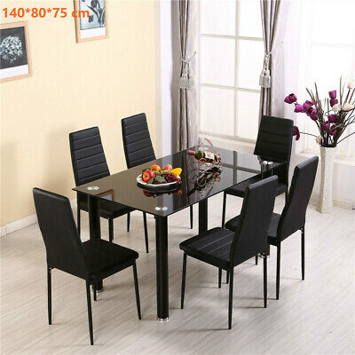 Dining Table Set Black Tempered Glass Top w/ 6 Faux Leather Chairs Strong Legs