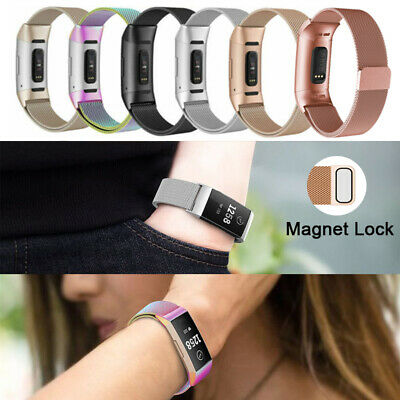 For Fitbit Charge 3 Stainless Steel Metal Magnet Strap Replacement Milanese Band