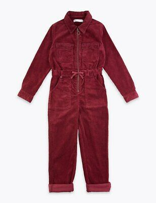 Marks And Spencer Girls Burgundy Boiler Play Jump Suit 5-6 Yrs Bnwt