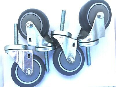 "4 pack of 1/2""-13 threaded stem with 4 by 1-1/4"" rubber wheels swivel casters"