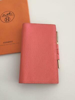 Auth HERMES Agenda Day Planner Cover Vision Rose Lipstick Leather Used from JPN