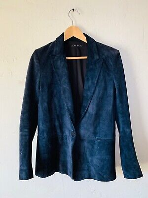 Theory Women's Angled Blazer Navy Blue Suede Jacket One Button