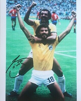 Socrates signed 10x8 Brazil photo Image D UACC AFTAL registered dealer COA RACC