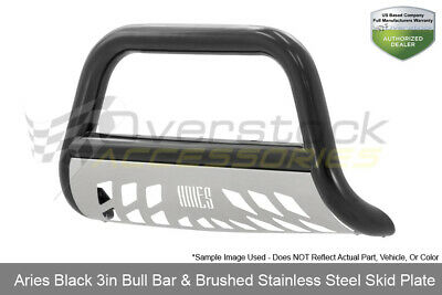 Aries Black Stainless 3in Bull Bar W/ Skid Plate For Frontier/Xterra 2005-2019