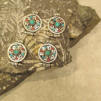 Lot of 4 Tibetan Nepal Handmade Pendant Turquoise Red Brass Mixed Metal Amulet