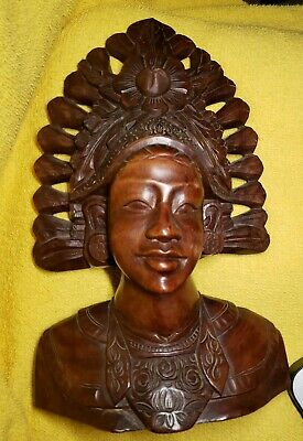 Antique Wood Carved Bust Indonesian woman