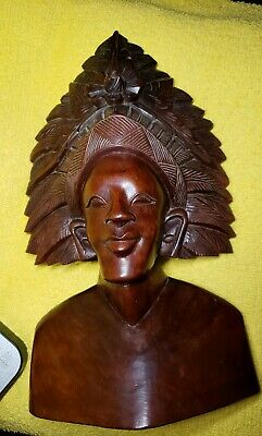 Antique Wood Carved Bust Indonesian man