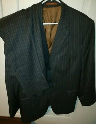 Michael Kors 44R Three Button Wool Suit Gray Brown Pinstripe 38x29 Dual Vented
