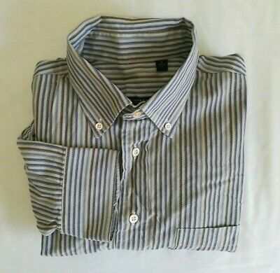 Burberry London Mens Large Gray Blue Brown Striped L/S Button Up Shirt USA Made