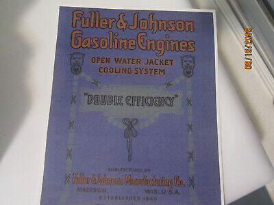 1910 Fuller&Johnson Double Efficiency Gasoline Engines Catalog, all sizes