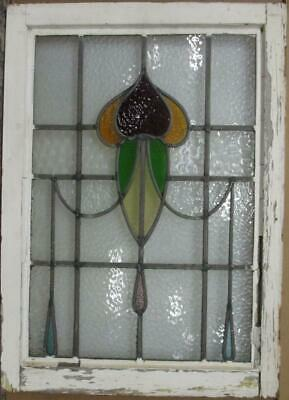 "MIDSIZE OLD ENGLISH LEAD STAINED GLASS WINDOW Pretty Abstract Drops 20.25"" x 28"""