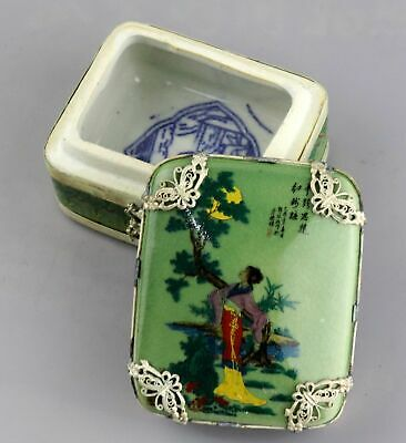 Collect Tibet Silver Armoured Porcelain Carved Ancient Belle Delicate Little Box
