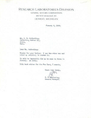 Charles F. Kettering - Typed Letter Signed 01/06/1939
