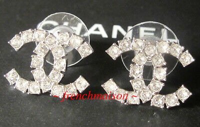 AUTHENTIC CHANEL CC Logo Crystal Earrings Silver Classic Stud Pierced 2020 New