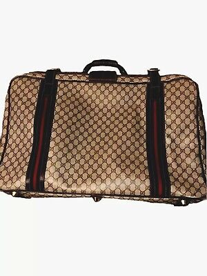 "Vintage 80s GUCCI GG Monogram 28"" Inch Suitcase Luggage Travel Bag VERY RARE"