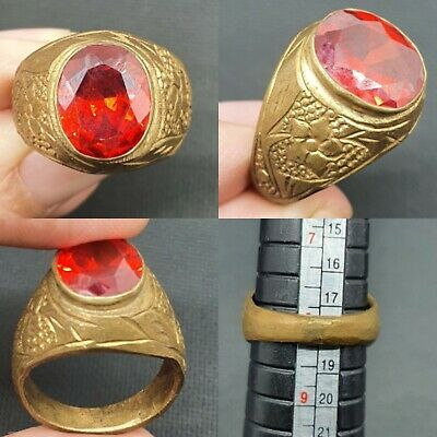 SCARCE-CIRCA 200-300 AD ROMAN GOLD PLATED RING - very rare RED GLASS
