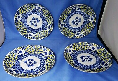 vintage blue & white & yellow porcelain plates floral scalloped edge