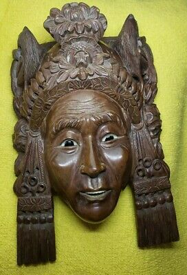 Antique Carved Asian Dark Wood Crowned woman Eyes Teeth