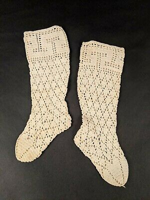 Victorian 19Th Century Child's Knit Stockings / Socks