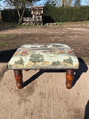 Vintage style wooden upholstered foot stool
