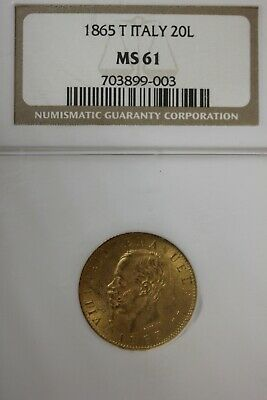 1865 MS 61 20 Lira Italy Gold Coin NGC Graded Certified Authentic Slab OCE 1261