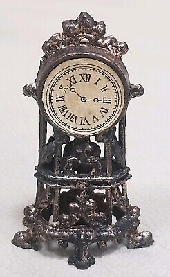 Antique French doll house miniature metal mantle clock beautiful condition