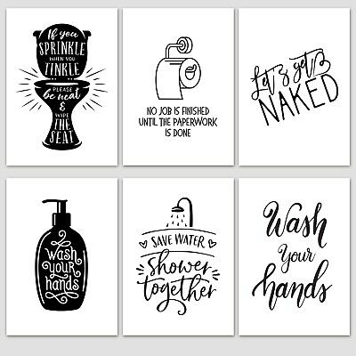 Inspirational Quotes Wall Art Motivational Posters - Toilet Bathroom Quote A3/A4