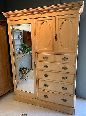 Antique Pine Wardrobe/ Armoire With Mirrored Door & Drawers