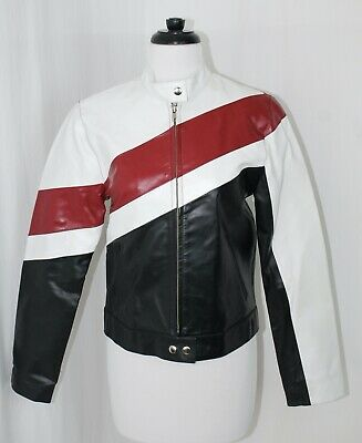 Womens WILSONS LEATHER MAXIMA Sz Small S Black Red White Cafe Moto Jacket
