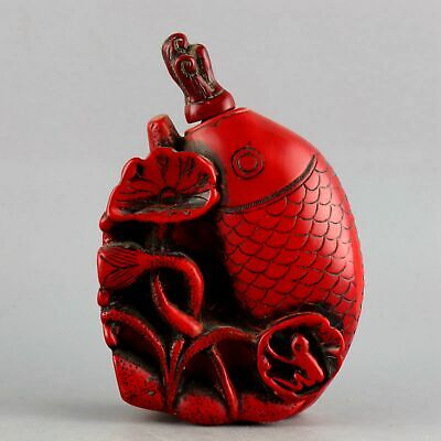Collectable China Red Coral Hand-Carved Fish & Lotus Delicate Lucky Snuff Bottle
