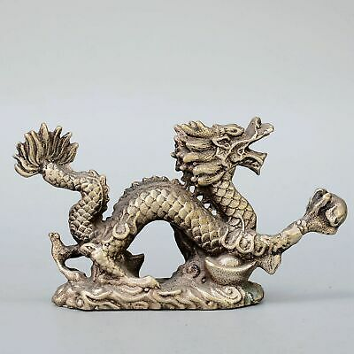 Collectable China Old Miao Silver Hand-Carved Myth Dragon & Wealth Luck Statue