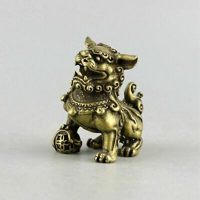 Collect China Old Bronze Hand-Carved Roar Lion Moral Exorcism Auspicious Statue