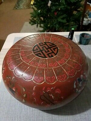 民国漆器彩绘暗八仙大圆盒Biggest Antique lacquerware circle box hand painted Chinese artwork