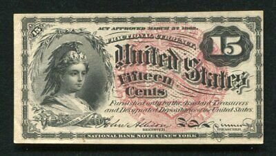 Fr. 1267 15 Fifteen Cents Fourth Issue Fractional Currency Note About Unc (B)