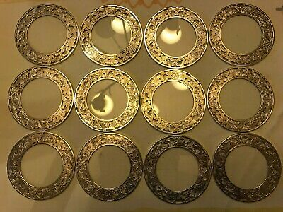 """🥃Twelve (12) Webster Sterling Silver Overlay Crystal Clear Glass Coasters, 3""""🥃"""