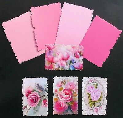 Mother's Day Birthday Frilly Edged Card Topper X 8 Pce Mixed Pinks
