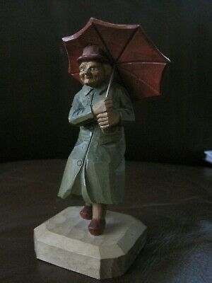 Norway Ericsson? Wood Figure Women With Umbrella Hand Carved