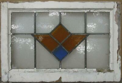 "MIDSIZE OLD ENGLISH LEADED STAINED GLASS WINDOW Gorgeous Geometric 24.5"" x 16.5"""