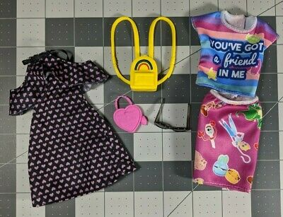 Barbie doll clothes lot Fashionistas Black Heart Dress Toy Story 4 Fashion Pack