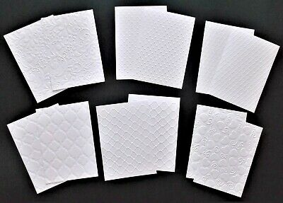EMBOSSED WHITE SATIN PAPER PACK x 12 CARDMAKING SCRAPBOOKING 6 designs