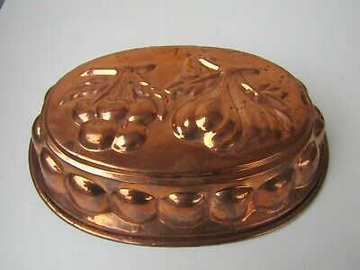 Vintage Antique Large Oval Heavy Copper Jelly Cake Mold Cherries & Figs Design