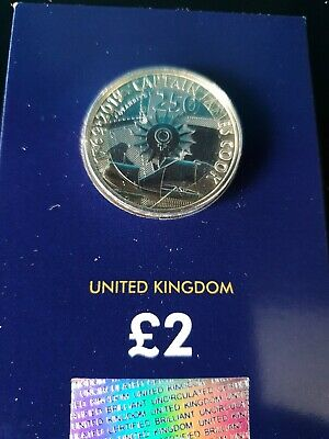 2019 Uk Captain Cook's Voyage Certified Bu £2 Two Pound Coin - Brand New.