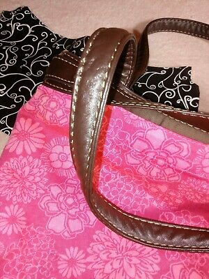 Purse + 2 Covers 31 THIRTY-ONE Brown Handbag Two tone Floral Pink & Black White