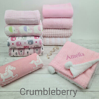 Baby Girls Plush Fleece Blanket Collection. Ideal for Gift, Pram,Crib, Car Seat.