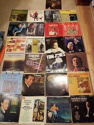 "Vintage Mix Lot of 25 12"" Vinyl Records 50's 60's 70's 80's"