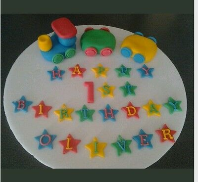 PARTY BIRTHDAY RICE PAPER CAKE TOPPERS 24 X BARNEY 1ST 2ND 3RD ECT..