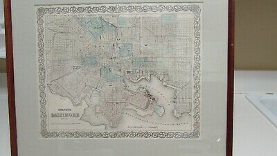 Colton's Map of Baltimore  Maryland  Framed and Matted
